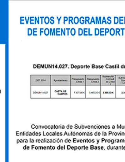 Subvenciones otorgadas a la E.L.A. de Castil de Campos 2.014 1