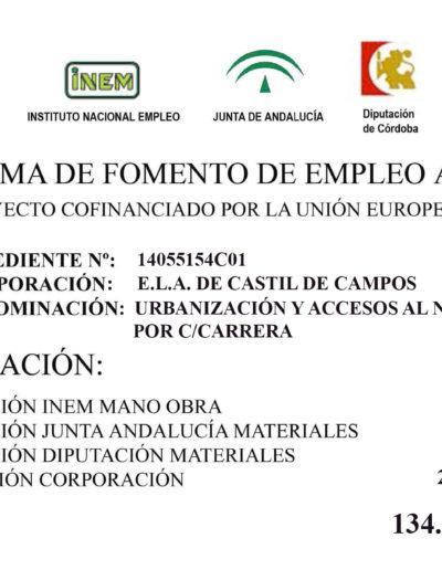 Subvenciones otorgadas a la E.L.A. de Castil de Campos 2.015 2