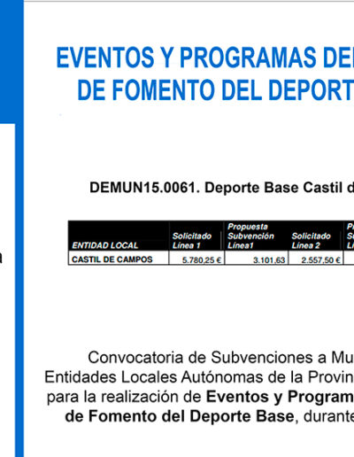 Subvenciones otorgadas a la E.L.A. de Castil de Campos 2.015 6