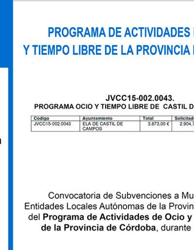 Subvenciones otorgadas a la E.L.A. de Castil de Campos 2.015 7