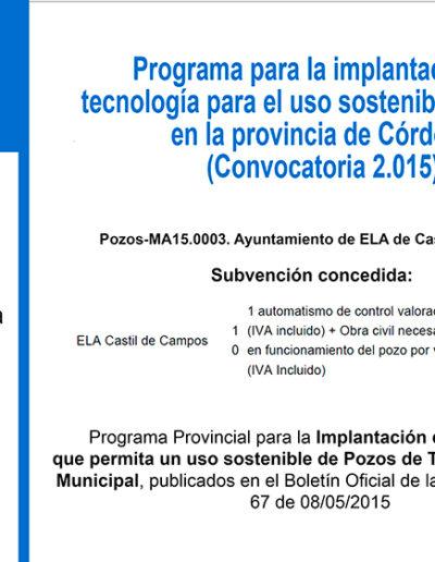 Subvenciones otorgadas a la E.L.A. de Castil de Capos 2.015 10