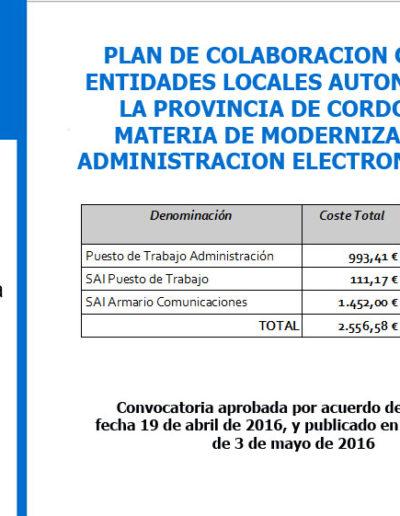 Subvenciones otorgadas a la E.L.A. de Castil de Campos 2.016 2