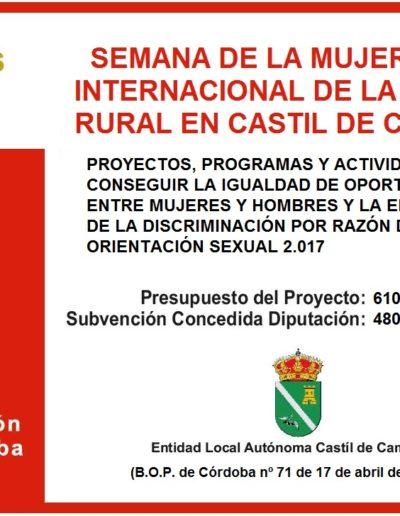 Subvenciones otorgadas a la E.L.A. de Castil de Campos 2.017 2