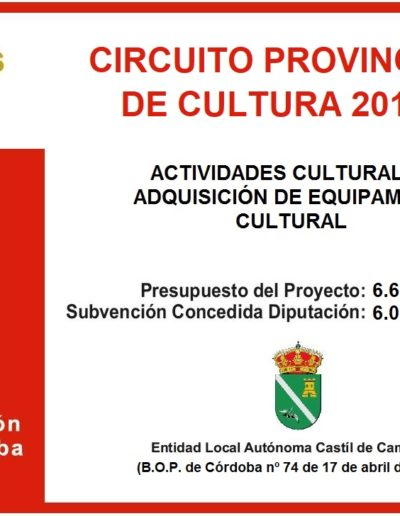 Subvenciones otorgadas a la E.L.A. de Castil de Campos 2.019 3