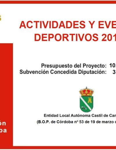 Subvenciones otorgadas a la E.L.A. de Castil de Campos 2.019 2