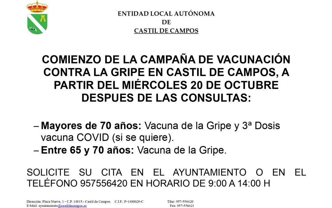 Campaña de vacunación contra la gripe en Castil de Campos 2021